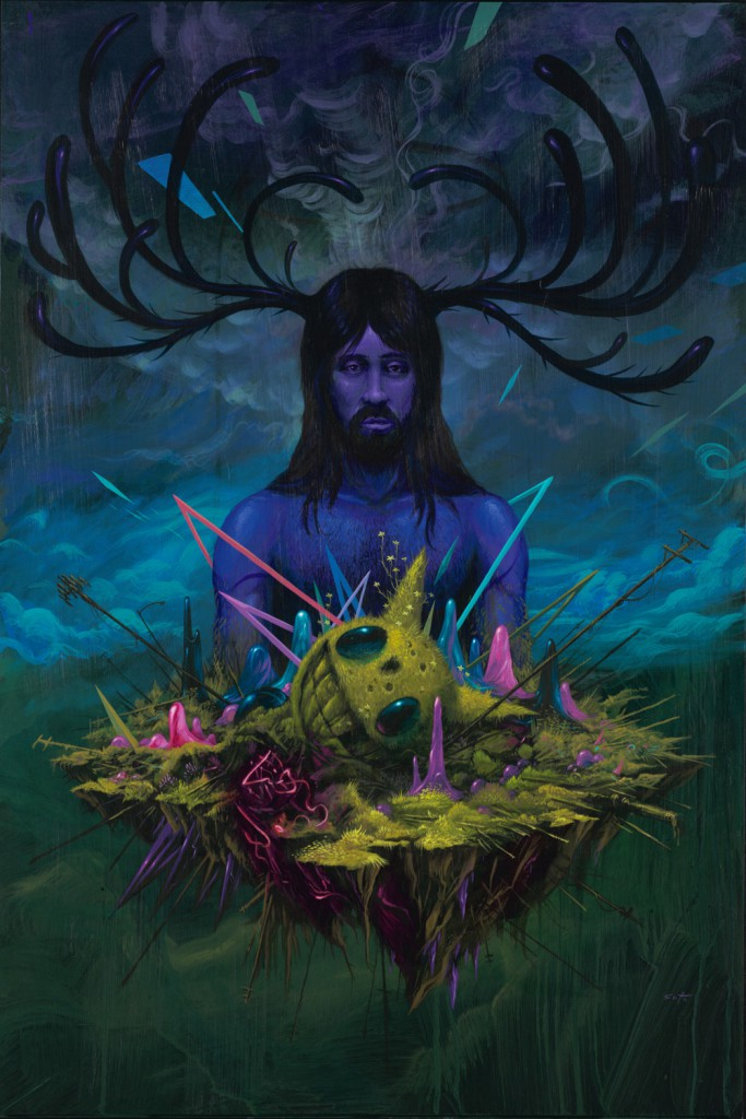 Jeff  Soto -  <strong>Man</strong> (2012<strong style = 'color:#635a27'></strong>)<bR /> acrylic on wood panel,   36 x 24 inches  91.44 x 60.96 cm