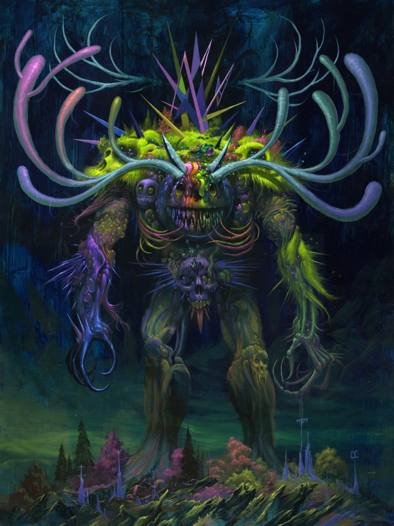 Jeff  Soto -  <strong>Monster</strong> (2012<strong style = 'color:#635a27'></strong>)<bR /> acrylic on wood panel,   48 x 36 inches  121.92 x 91.44 cm