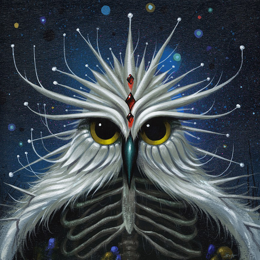 Jeff  Soto -  <strong>Night Cryer</strong> (2014<strong style = 'color:#635a27'></strong>)<bR /> acrylic on wood,   7.88 x 7.88 inches  (20 x 20 cm)