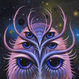 Jeff  Soto -  <strong>Night Dreamer</strong> (2014<strong style = 'color:#635a27'></strong>)<bR /> acrylic on wood,   7.88 x 7.88 inches  (20 x 20 cm)