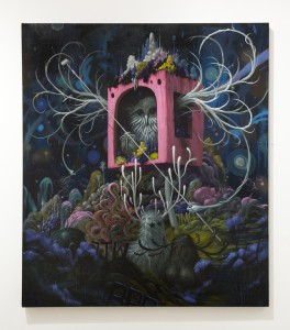 Jeff  Soto -  <strong>Night Nest</strong> (2014<strong style = 'color:#635a27'></strong>)<bR /> acrylic and spray paint on wood,   48 x 40 inches  (121.9 x 101.6 cm)