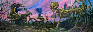 Jeff  Soto -  <strong>The Bike Ride</strong> (2012<strong style = 'color:#635a27'></strong>)<bR /> acrylic on wood panel,   42 x 120 inches  106.68 x 304.8 cm