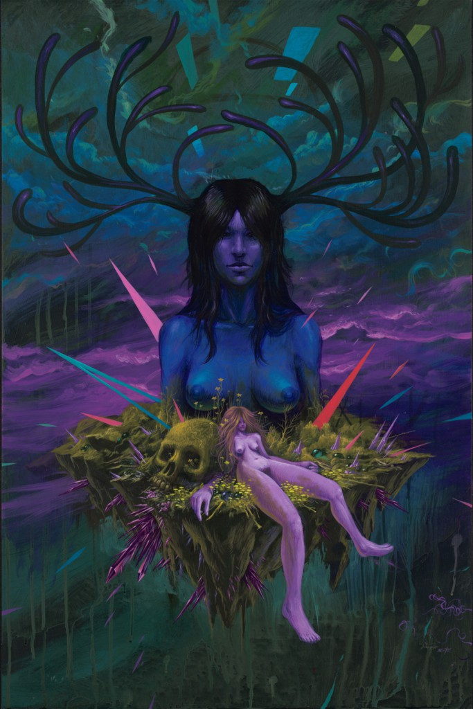 Jeff  Soto -  <strong>Woman</strong> (2012<strong style = 'color:#635a27'></strong>)<bR /> acrylic on wood panel,   36 x 24 inches  91.44 x 45.72 cm