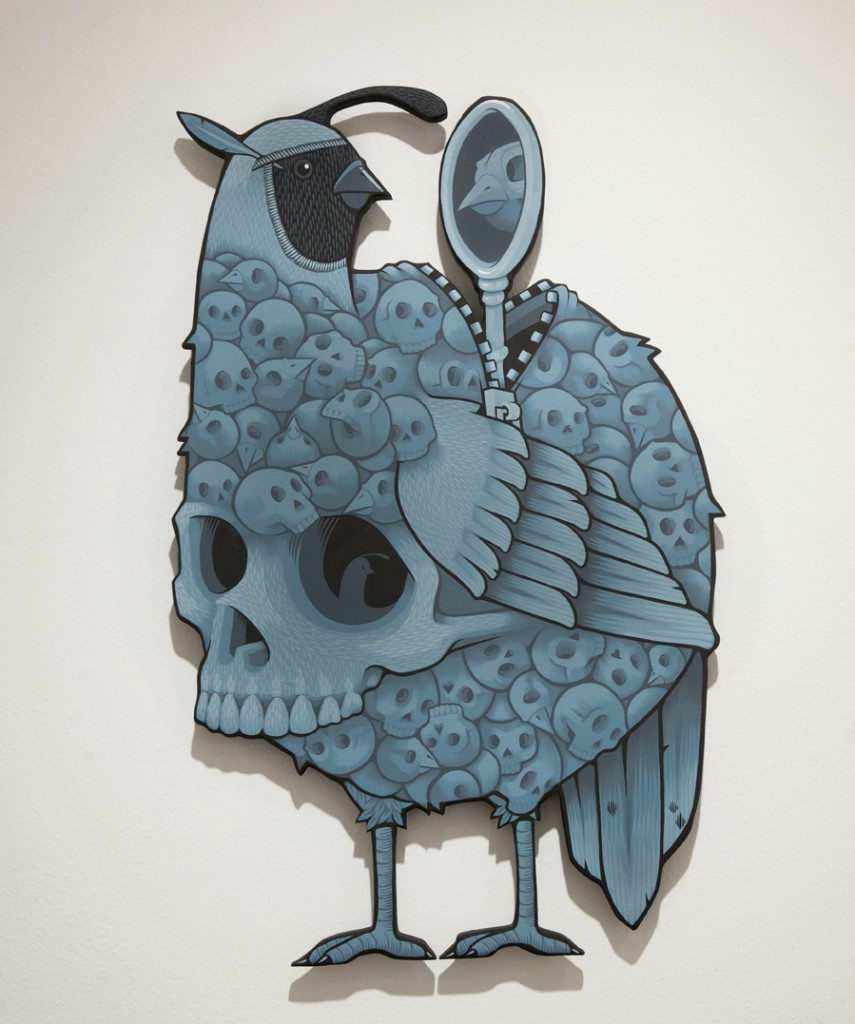 Jeremy  Fish -  <strong>The Frail Quail</strong> (2014<strong style = 'color:#635a27'></strong>)<bR /> acrylic on cut wood,   32 x 22 inches  (81.3 x 55.8 cm)