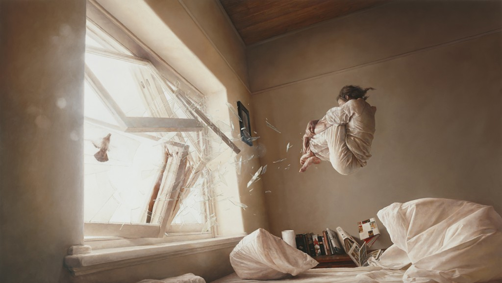 Jeremy  Geddes -  <strong>A Perfect Vacuum</strong> (2011<strong style = 'color:#635a27'></strong>)<bR /> oil on board,   20 x 35 inches (50.8 x 88.9 cm)  24.75 x 39.625 x 1.75 inches, framed