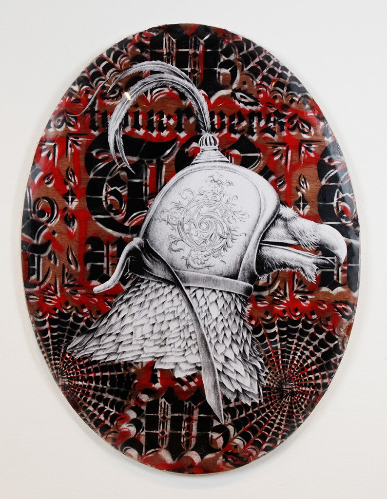 Jesse  Hazelip -  <strong>G Vulture</strong> (2014<strong style = 'color:#635a27'></strong>)<bR /> mixed media on found wood,   45 x 33.5 inches  (114.3 x 85.09 cm)