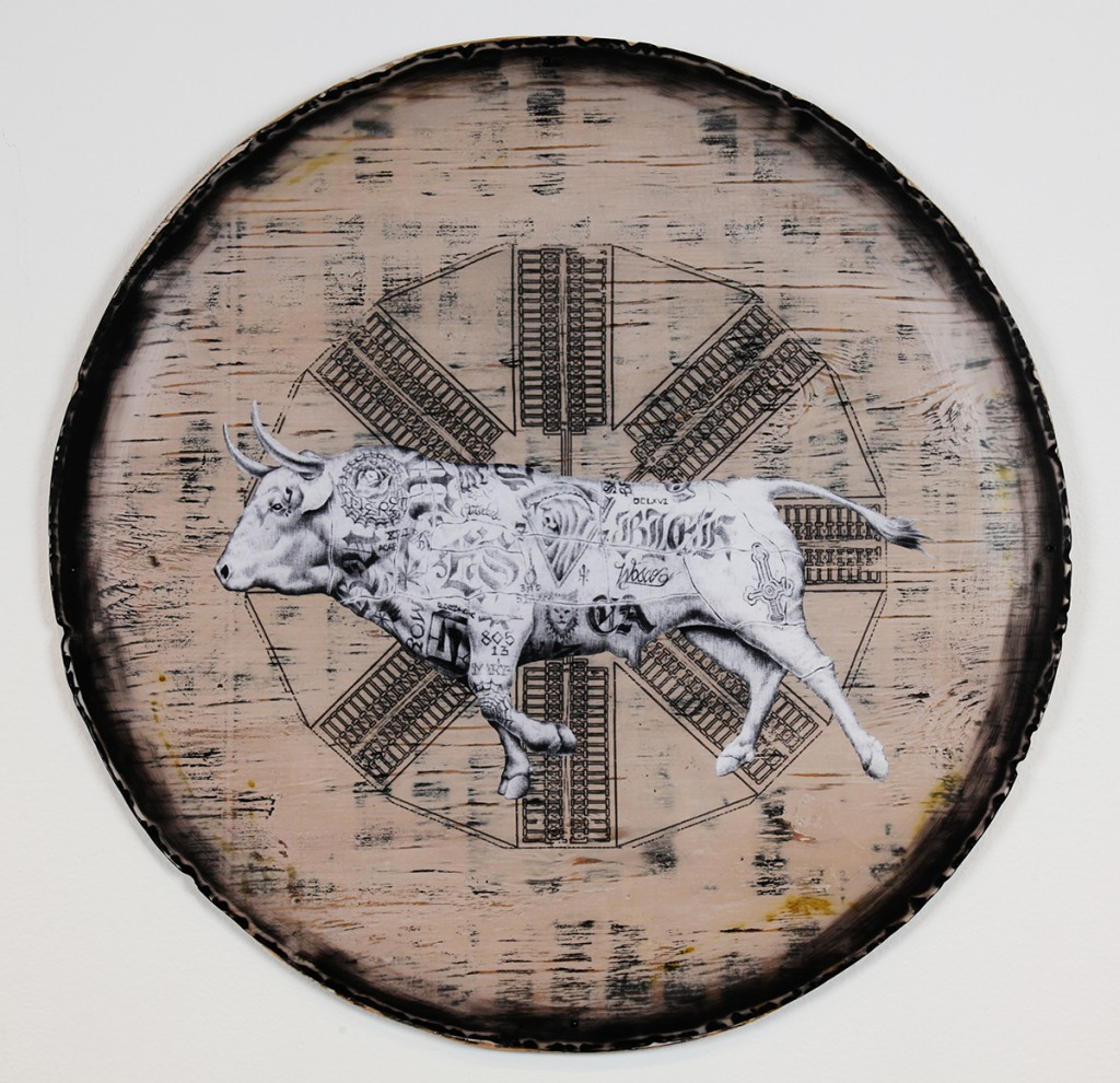 Jesse  Hazelip -  <strong>High Rider</strong> (2014<strong style = 'color:#635a27'></strong>)<bR /> mixed media,   32 x 32 inches  (81.28 x 81.28 cm)