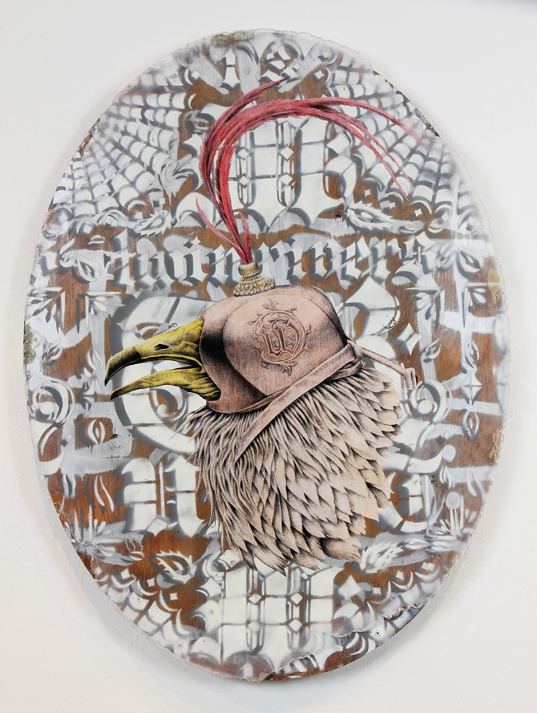 Jesse  Hazelip -  <strong>W Vulture</strong> (2014<strong style = 'color:#635a27'></strong>)<bR /> mixed media on found wood,   39 x 29 inches  (99.06 x 73.66 cm)