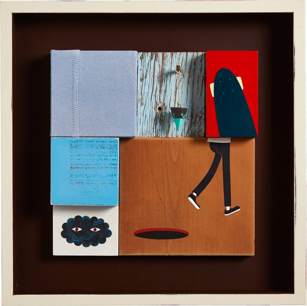 Jim  Houser -  <strong>Kinds of Plants</strong> (2014<strong style = 'color:#635a27'></strong>)<bR /> assemblage on wood panel,   18 x 18 inches  (45.72 x 45.72 cm)