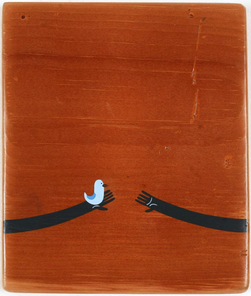 Jim  Houser -  <strong>Care Giver</strong> (2010<strong style = 'color:#635a27'></strong>)<bR /> acrylic on wood panel,   7 x 6 inches  (17.78 x 15.24 cm)