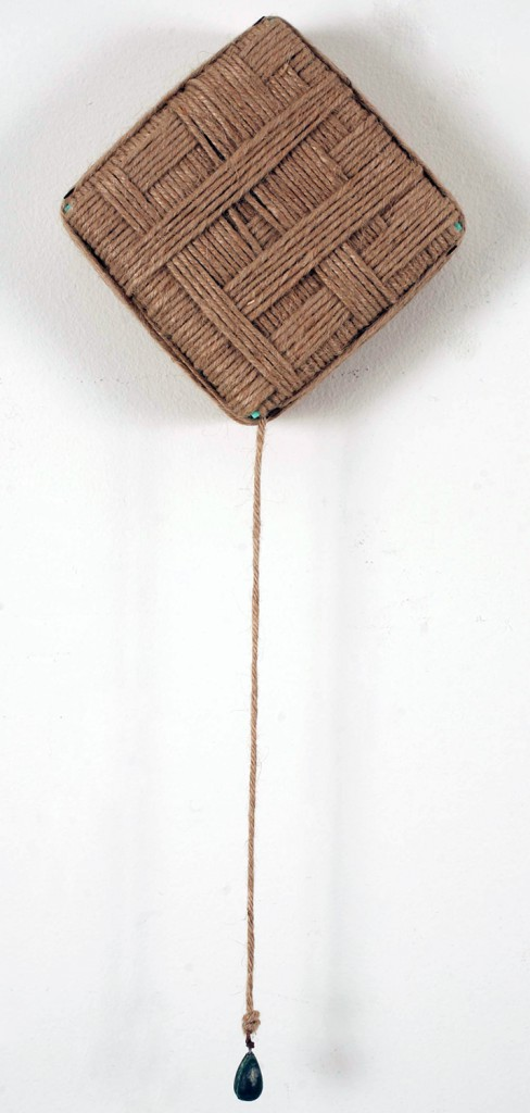 Jim  Houser -  <strong>Depth Charge</strong> (2010<strong style = 'color:#635a27'></strong>)<bR /> twine on wood panel and metal,   15.5 x 6 inches  (39.37 x 15.24 cm)