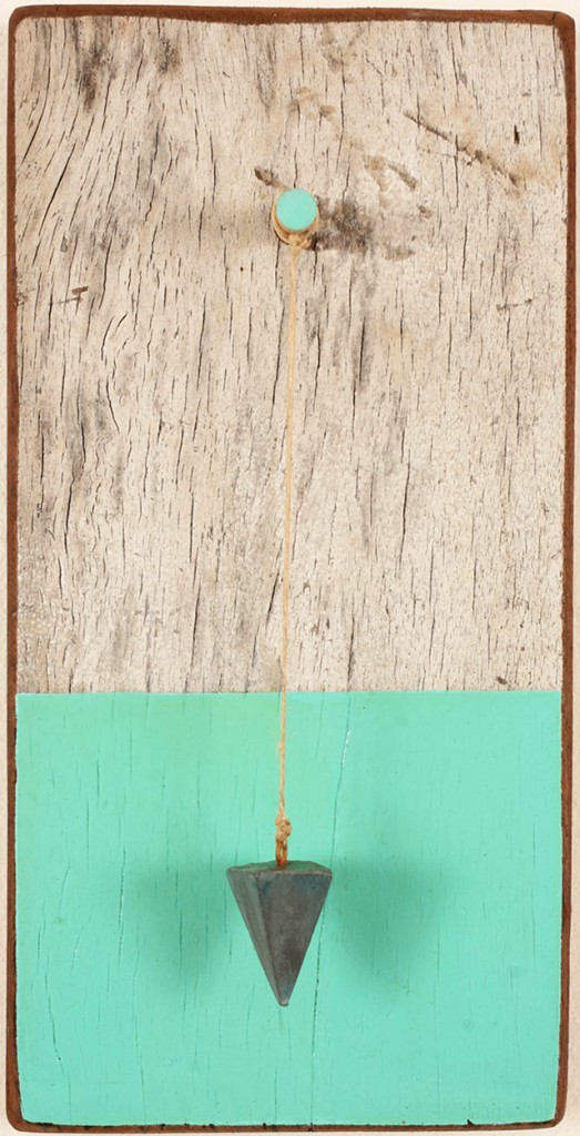 Jim  Houser -  <strong>Sinker</strong> (2011<strong style = 'color:#635a27'></strong>)<bR /> acrylic on wood panel with twine and metal,   11 x 5.5 inches  (27.94 x 13.97 cm)