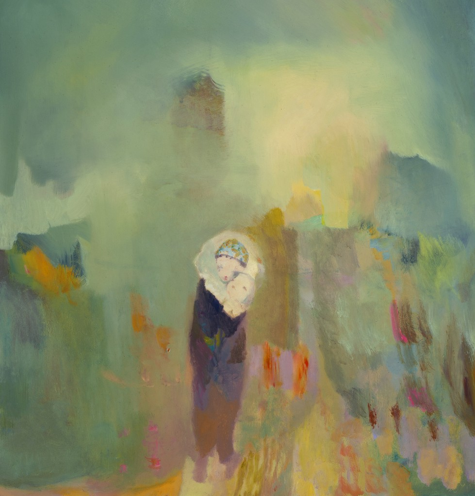Joe  Sorren -  <strong>A Sweet Attention</strong> (2012<strong style = 'color:#635a27'></strong>)<bR /> oil on panel,   19 x 18 inches  (48.26 x 45.72 cm)  21.375 x 20.5 x 1.25 inches, framed