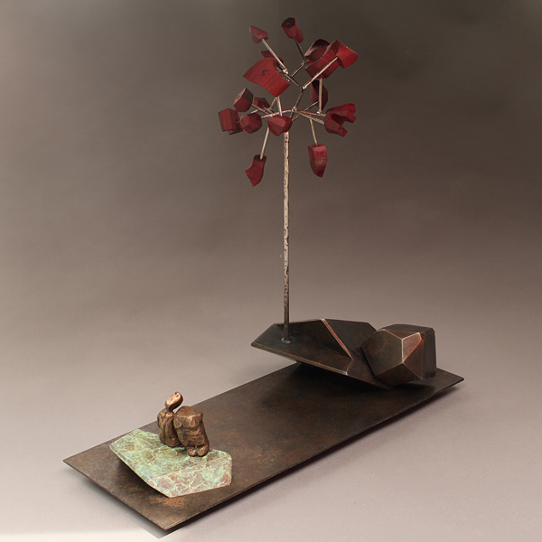 Joe Sorren and Jud Bergeron (collaboration)  &nbsp -  <strong>Sparks</strong> (2011<strong style = 'color:#635a27'></strong>)<bR /> bronze, steel and Pakuke wood,   18 x 18 x 7 inches  (45.72 x 45.72 x 17.78 cm)