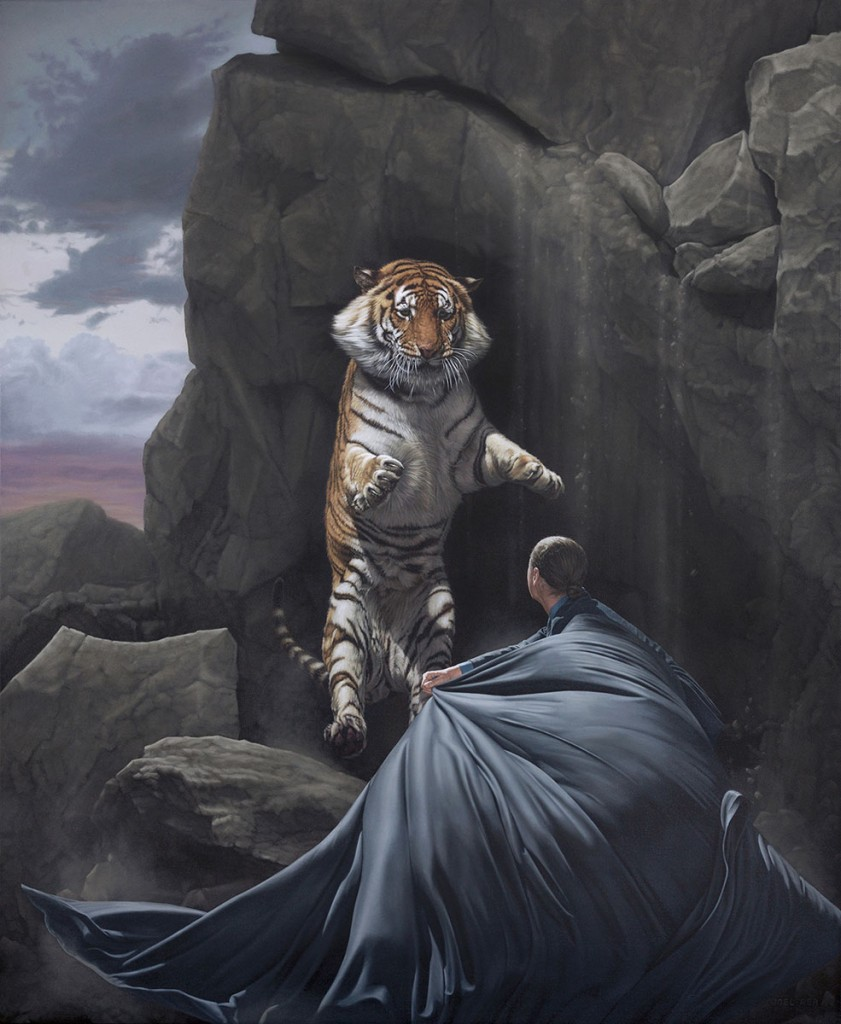 Joel Rea -  <strong>Clash</strong> (2015<strong style = 'color:#635a27'></strong>)<bR />  oil on canvas 39.37 x 32.28 inches (100 x 82 cm)