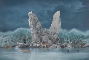 Joel Rea -  <strong>The Promised Land</strong> (2015<strong style = 'color:#635a27'></strong>)<bR />  oil on canvas 57 x 84.25 inches (145 x 214 cm)