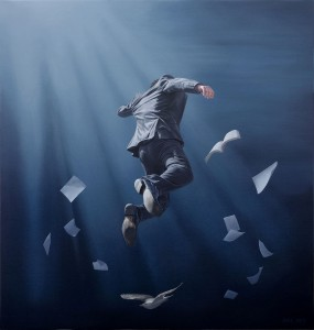 Joel Rea -  <strong>Traverse Blue</strong> (2015<strong style = 'color:#635a27'></strong>)<bR />  oil on canvas 23.62 x 22.64 inches (60x 57.5 cm)