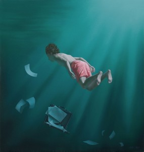 Joel Rea -  <strong>Traverse Green</strong> (2015<strong style = 'color:#635a27'></strong>)<bR />  oil on canvas 23.62 x 22.64 inches (60x 57.5 cm)