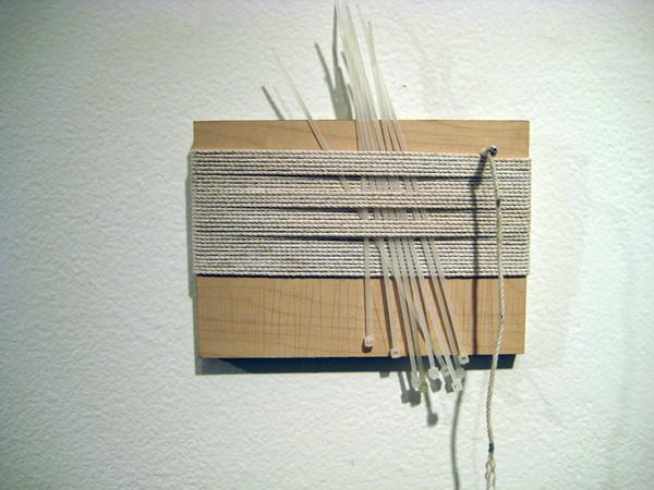 The Panorama Project  &nbsp -  <strong>John Erik Karkula,</strong> (2008<strong style = 'color:#635a27'></strong>)<bR /> Cotton twine, garbarge ties & steel wire on board,   5 x 7 inches