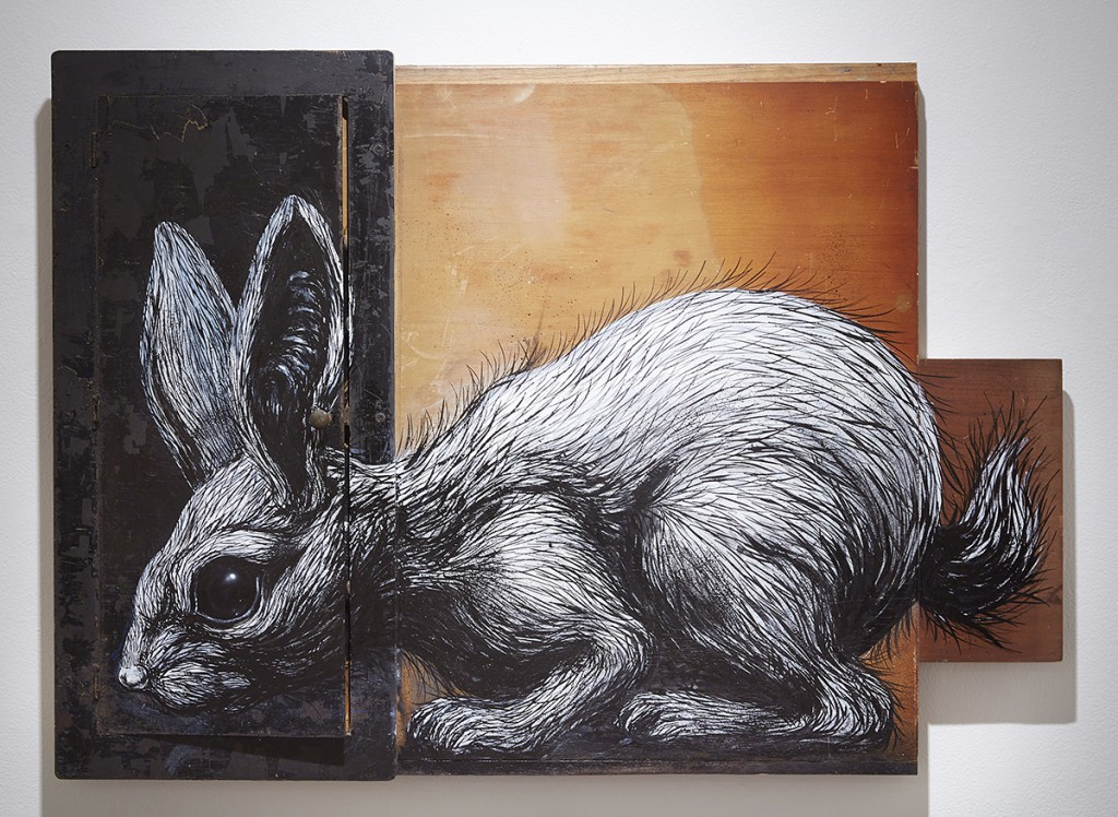 Roa      -  <strong>Sylvilagus Audubonii</strong> (2015<strong style = 'color:#635a27'></strong>)<bR /> mixed media,   32 x 44.5 x 2.5 inches  (81.28 x 113.03 x 6.35 cm)