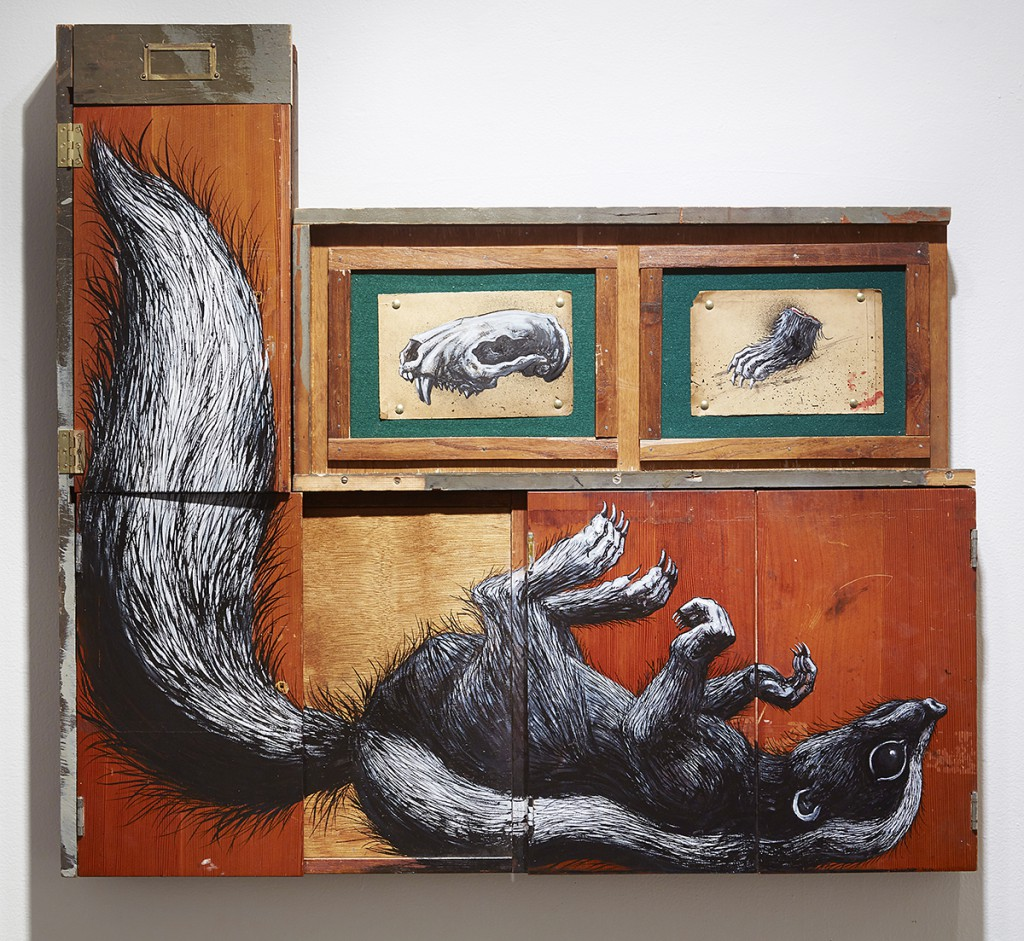 Roa      -  <strong>Mephitidae</strong> (2015<strong style = 'color:#635a27'></strong>)<bR /> mixed media,   39.75 x 42.75 x 4 inches  (100.97 x 108.59 x 10.16 cm)