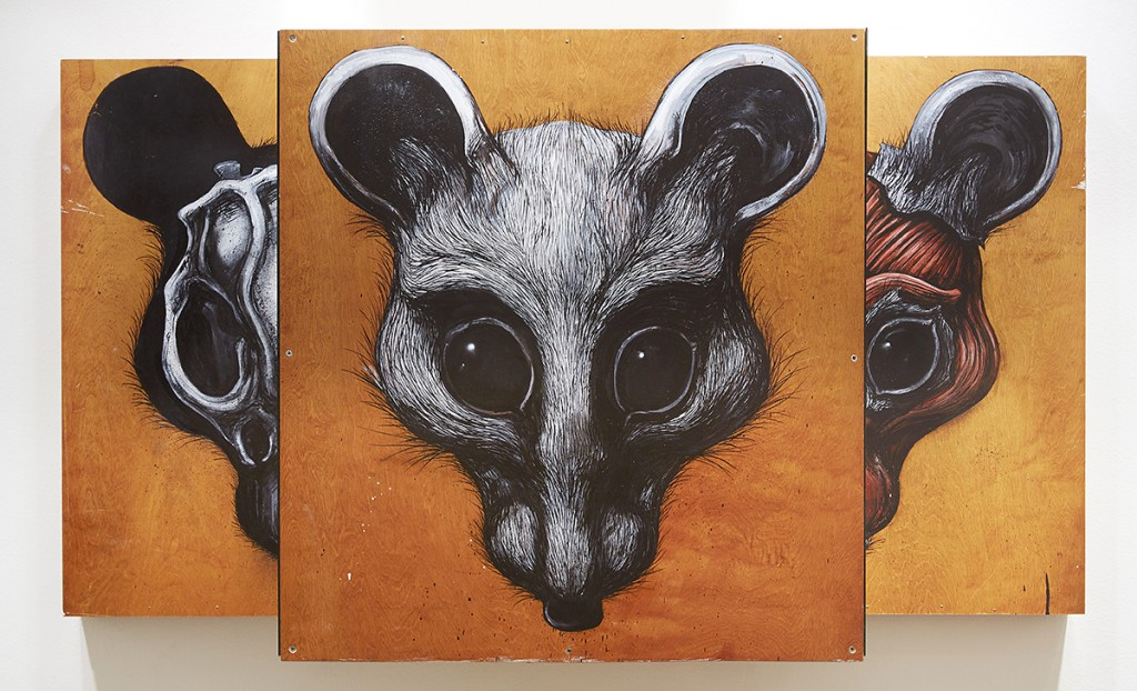 Roa      -  <strong>Mouse Head Speculum</strong> (2015<strong style = 'color:#635a27'></strong>)<bR /> mixed media,   32.5 x 59.75 x 19 inches  (81.28 x 151.76 x 48.26 cm)