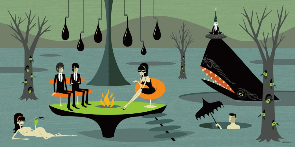 Josh  Agle (Shag) -  <strong>The Infestation</strong> (2010<strong style = 'color:#635a27'></strong>)<bR /> acrylic on panel,   24 x 48 inches (60.96 x 121.92 cm)  30 x 54 x 2 inches, framed