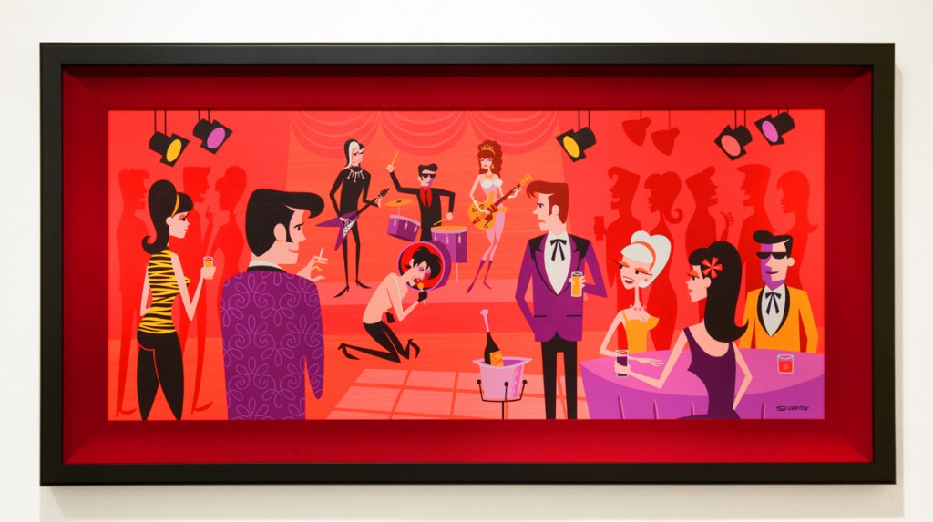Josh  Agle (Shag) -  <strong>At the Peppermint Lounge</strong> (2014<strong style = 'color:#635a27'></strong>)<bR /> acrylic on panel,   18 x 40 inches  (45.72 x 101.6 cm),   24 x 46 1/2 inches, framed