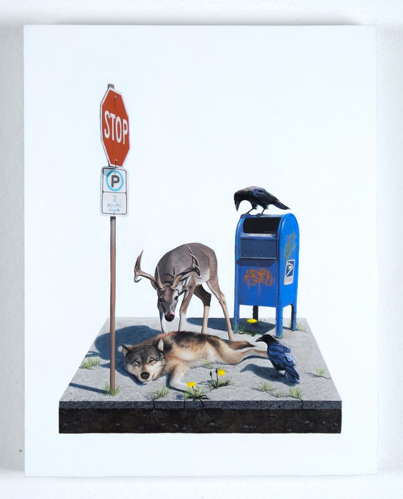 Josh  Keyes -  <strong>Adaptation I</strong> (2014<strong style = 'color:#635a27'></strong>)<bR /> acrylic on birch panel,   11 x 14 inches  (27.94 x 35.56 cm)
