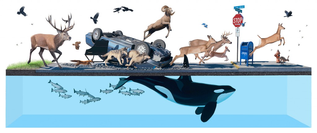 Josh  Keyes -  <strong>Stampede</strong> (2011<strong style = 'color:#635a27'></strong>)<bR /> acrylic on canvas,   60 x 120 inches   (152.4 x 304.8 cm)
