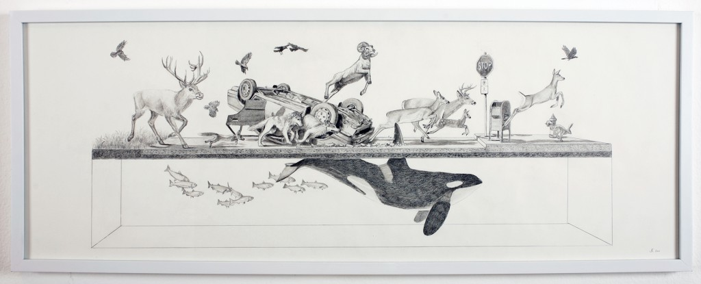 Josh  Keyes -  <strong>Stampede</strong> (2011<strong style = 'color:#635a27'></strong>)<bR /> graphite on paper,   14.5 x 37 inches  15.75 x 40.75 inches, framed  (40 x 103.5 cm, framed)