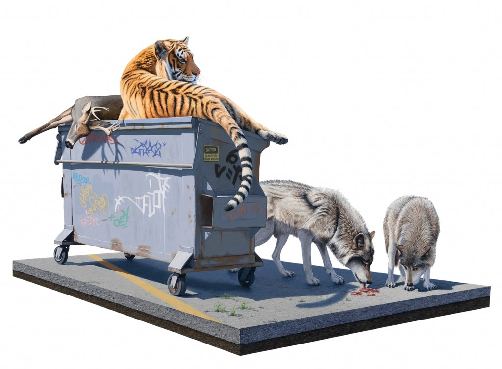 Josh  Keyes -  <strong>Tangled I</strong> (2011<strong style = 'color:#635a27'></strong>)<bR /> acrylic on panel,   30 x 40 inches  (76.2 x 101.6 cm)