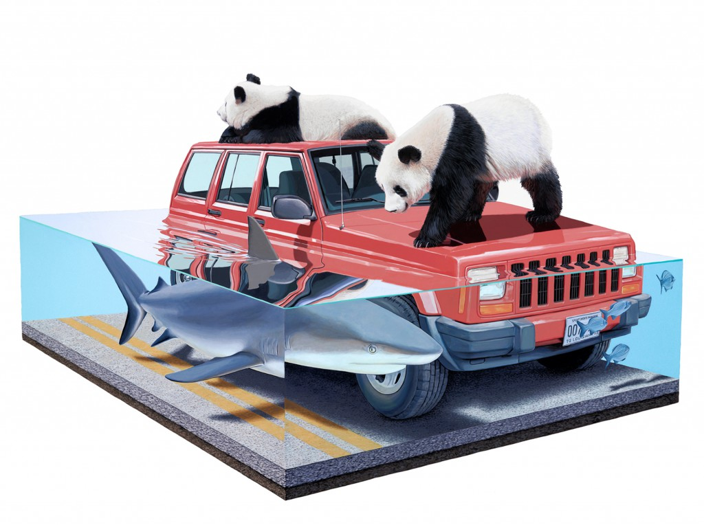 Josh  Keyes -  <strong>Tangled II</strong> (2011<strong style = 'color:#635a27'></strong>)<bR /> acrylic on panel,   30 x 40 inches  (76.2 x 101.6 cm)