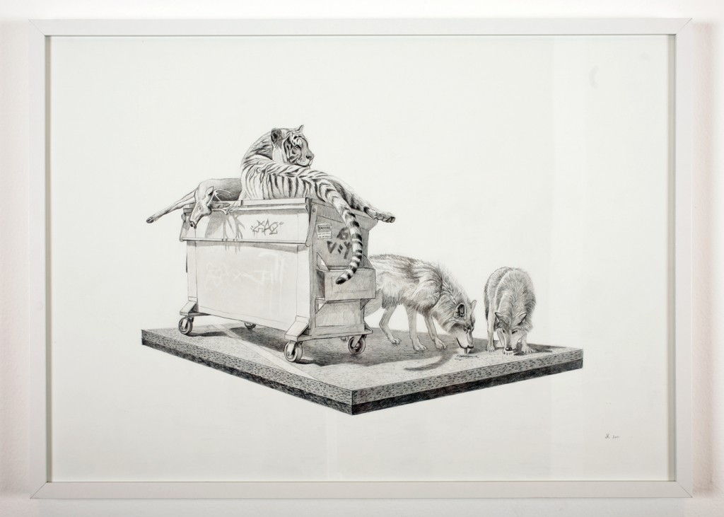 Josh  Keyes -  <strong>Tangled I</strong> (2011<strong style = 'color:#635a27'></strong>)<bR /> graphite on paper,   19.5 x 27.5 inches  20.75 x 28.5 inches, framed  (52.7 x 72.39 cm, framed)