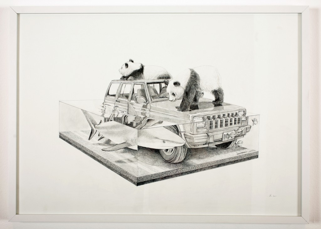 Josh  Keyes -  <strong>Tangled II</strong> (2011<strong style = 'color:#635a27'></strong>)<bR /> graphite on paper,   19.5 x 27.5 inches  20.75 x 28.5 inches, framed  (52.7 x 72.39 cm, framed)