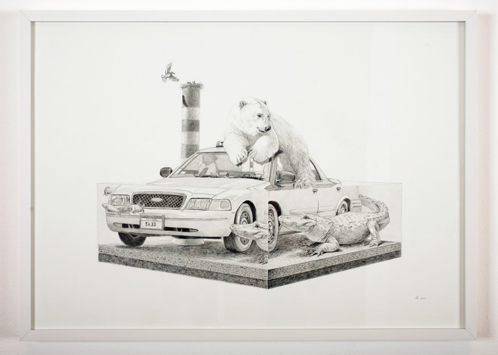 Josh  Keyes -  <strong>Tangled III</strong> (2011<strong style = 'color:#635a27'></strong>)<bR /> graphite on paper,   19.5 x 27.5 inches  20.75 x 28.5 inches, framed  (52.7 x 72.39 cm, framed)