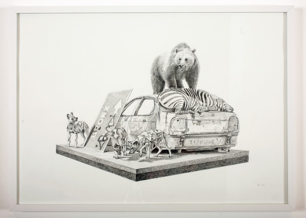Josh  Keyes -  <strong>Tangled IV</strong> (2011<strong style = 'color:#635a27'></strong>)<bR /> graphite on paper,   19.5 x 27.5 inches  20.75 x 28.5 inches, framed  (52.7 x 72.39 cm, framed)