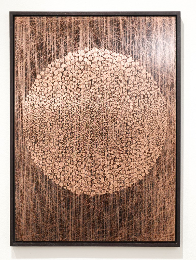 Kai and Sunny     -  <strong>Copper Stone Circle</strong> (<strong style = 'color:#635a27'></strong>)<bR /> hand pulled screen print on copper panel,   18.5 x 25.9 inches  (47 x 66 cm),   Edition of 3