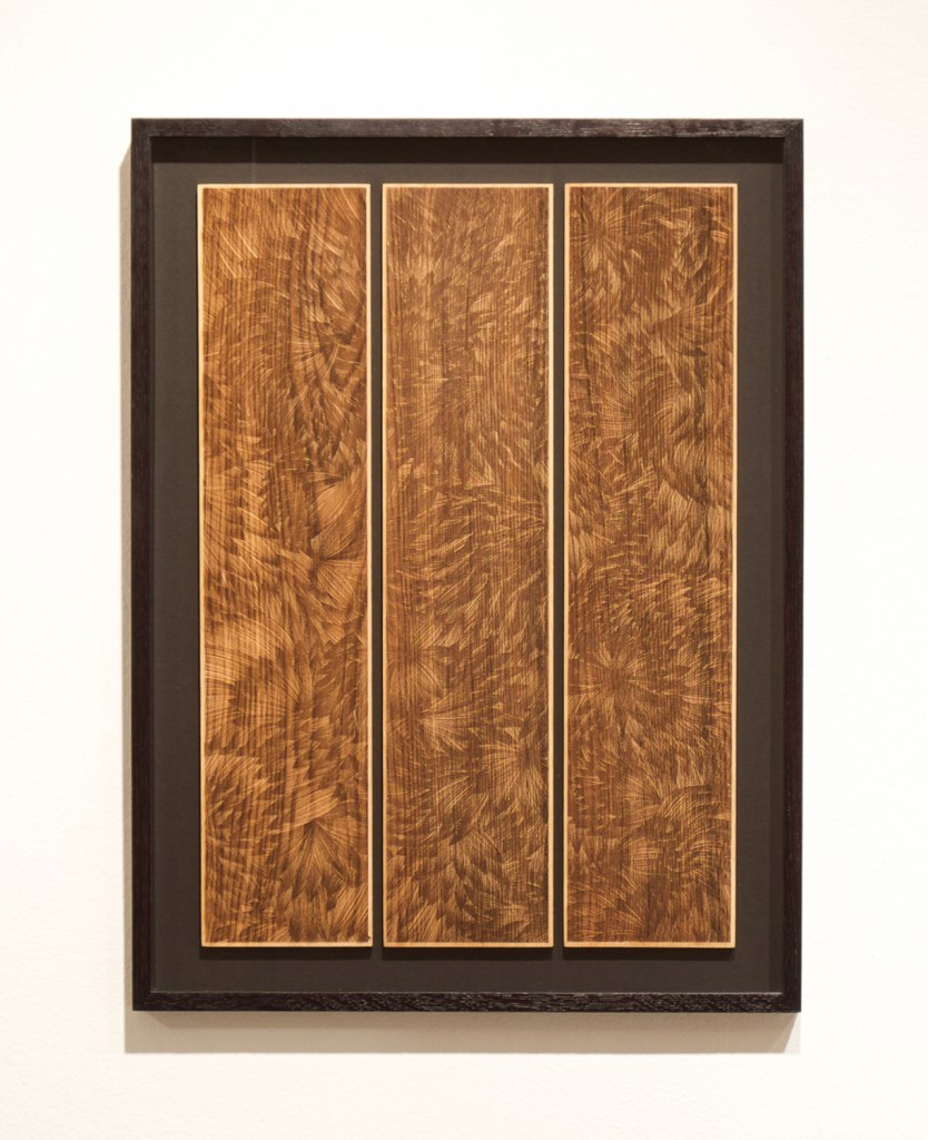 Kai and Sunny     -  <strong>Ghost Leaves - Wood</strong> (<strong style = 'color:#635a27'></strong>)<bR /> wood carving with gold leaf edges on 3 European oak panels,   20.9 x 27.5 inches  (53 x 70 cm),   Edition of 3