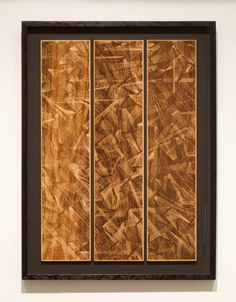 Kai and Sunny     -  <strong>Ghost Light - Wood</strong> (<strong style = 'color:#635a27'></strong>)<bR /> wood carving with gold leaf edges on 3 European oak panels,   20.9 x 27.5 inches  (53 x 70 cm),   Edition of 3