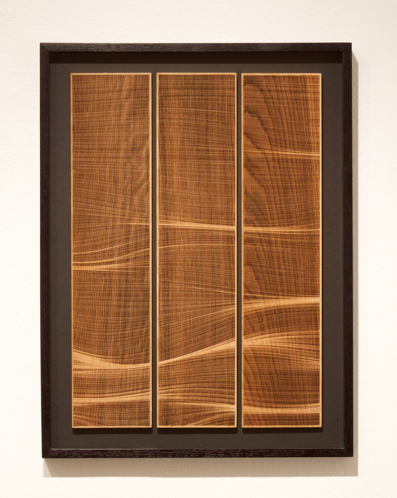 Kai and Sunny     -  <strong>Ghost Wave - Wood</strong> (<strong style = 'color:#635a27'></strong>)<bR /> wood carving with gold leaf edges on 3 European oak panels,   20.9 x 27.5 inches  (53 x 70 cm),   Edition of 3