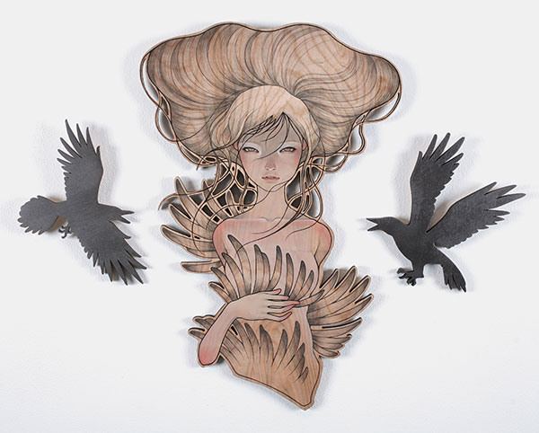 Audrey  Kawasaki -  <strong>Karasu no Jyou (The Bird Queen)</strong> (2009<strong style = 'color:#635a27'></strong>)<bR /> oil and graphite on laser-cut wood,   30 x 26.5 inches  (76.2 x 67.31 cm)