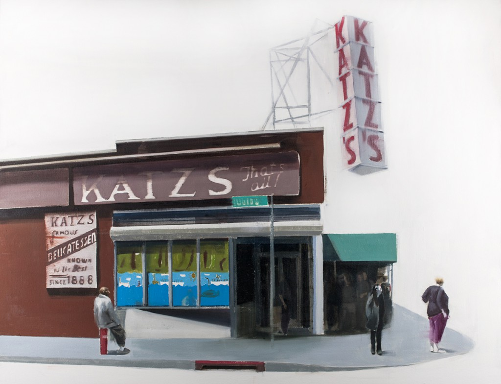 Brett Amory -  <strong>Katz Deli</strong> (2015<strong style = 'color:#635a27'></strong>)<bR />  oil on canvas,   36 x 48 inches,  (91.44 x 121.92 cm)