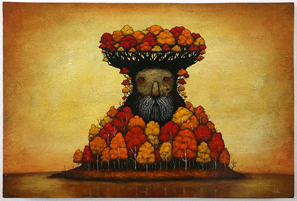Andy  Kehoe -  <strong>A Welcome to Coming Days</strong> (2010<strong style = 'color:#635a27'></strong>)<bR /> acrylic and oil on wood panel,   16 x 24 in.   (40.6 x 61 cm)