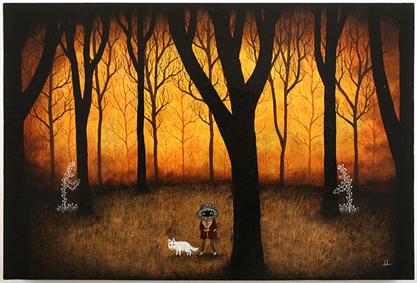 Andy  Kehoe -  <strong>Passing Through the Forest Deep</strong> (2010<strong style = 'color:#635a27'></strong>)<bR /> acrylic and oil on wood panel,   24 x 36 in.   (61 x 91.4 cm)