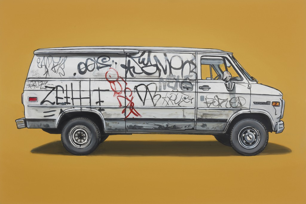 Kevin  Cyr -  <strong>Scholes</strong> (2012<strong style = 'color:#635a27'></strong>)<bR /> oil and silkscreen on panel,   20 x 30 inches  (50.8 x 76.2 cm),   Hand-painted multiple (HPM)  Edition of 5