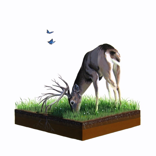 "Josh  Keyes -  <strong>Drink</strong> (<strong style = 'color:#635a27'></strong>)<bR /> <font face=""Arial"" size=""2"">Acrylic on Birch</font>,   <font face=""Arial"" size=""2"">12 x 12 inches</font>"