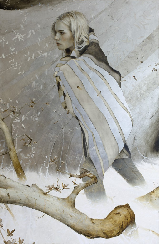 Brad  Kunkle -  <strong>Unseen</strong> (2015<strong style = 'color:#635a27'></strong>)<bR /> oil and silver leaf on linen panel,   51 x 33 inches  (129.54 x 83.82 cm)
