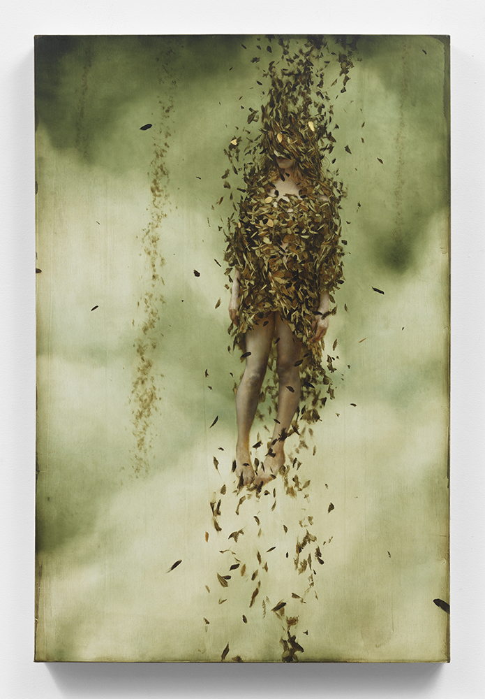 Brad  Kunkle -  <strong>True North</strong> (<strong style = 'color:#635a27'></strong>)<bR />  oil and silver leaf on wood panel,   30 x 20 inches  (76.2 x 50.8 cm)