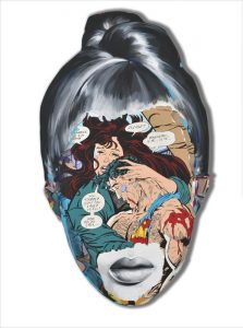 Sandra  Chevrier -  <strong>La Cage quand il est trop tard</strong> (2015<strong style = 'color:#635a27'></strong>)<bR /> acrylic on hand-carved wood panel,   30 x 21 inches  (76.2 x 53.34 cm)
